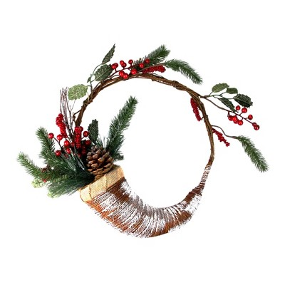 """Northlight 14"""" Unlit Lightly Frosted Cornucopia Artificial with Berries and Pine Cones Christmas Wreath"""