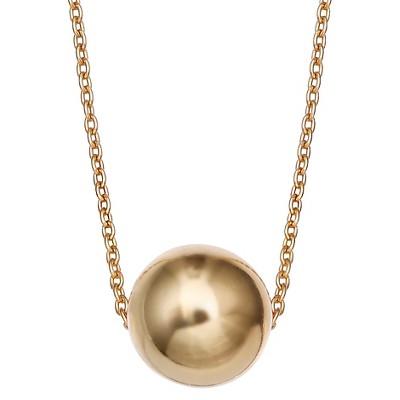 """Women's Sterling Silver Slider Ball Pendant - Gold (18"""")"""