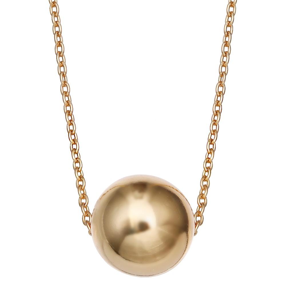 Women's Sterling Silver Slider Ball Pendant - Gold (18)