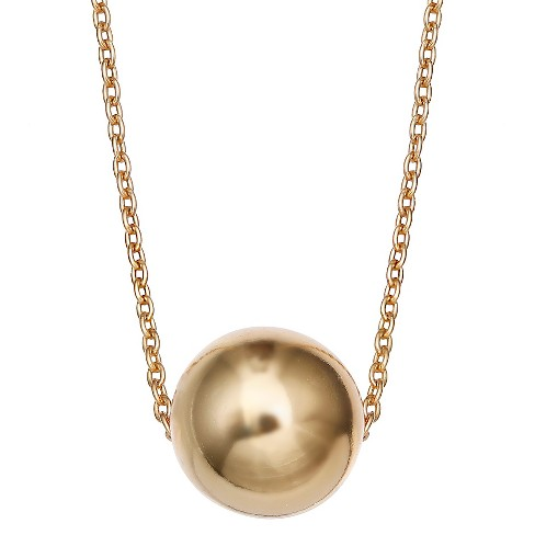 "Women's Sterling Silver Slider Ball Pendant - Gold (18"") - image 1 of 1"