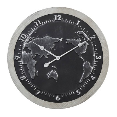 "25"" x 25"" Large Round Map Metal Wall Clock with Wood Frame Black/Silver - Olivia & May"