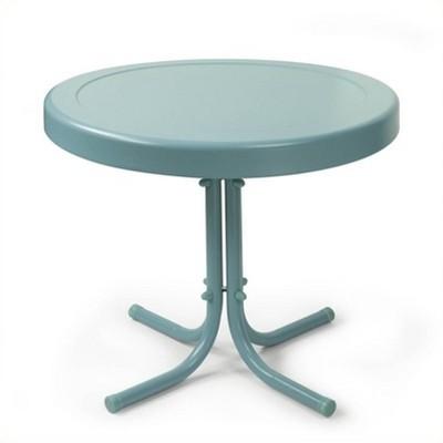 Steel Retro Metal Table in Caribbean Blue-Pemberly Row