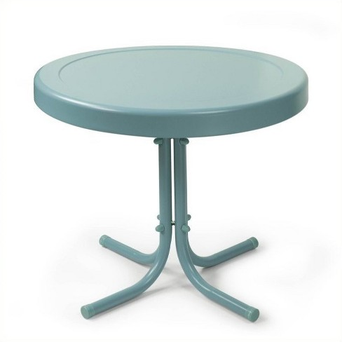 Steel Retro Metal Table in Caribbean Blue-Pemberly Row - image 1 of 1