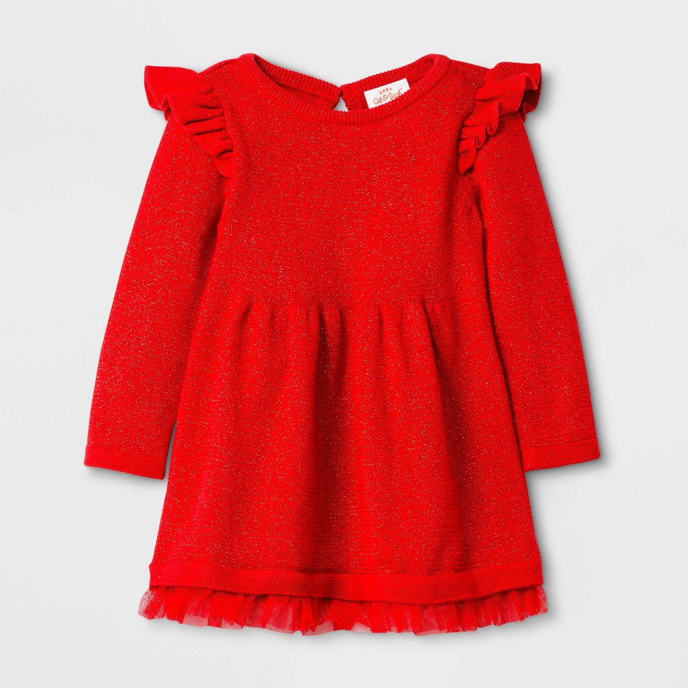 Image of Baby Girls' Ruffle Sleeve Sweater Dress - Cat & Jack Red 0-3M, Girl's