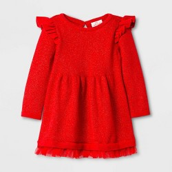 Baby Girls' Ruffle Sleeve Sweater Dress - Cat & Jack™ Red