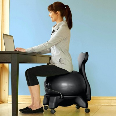 Gaiam Classic Gym Yoga Exercise Fitness Balance Ball Office Desk Chair, Black