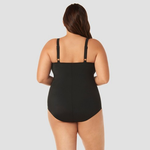 0022b2aead0aa Women s Plus Size Slimming Control One Piece Swimsuit - Beach Betty By Miracle  Brands Black Print   Target