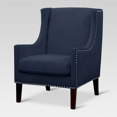Jackson Wingback Chair - Velvet Navy - Threshold™
