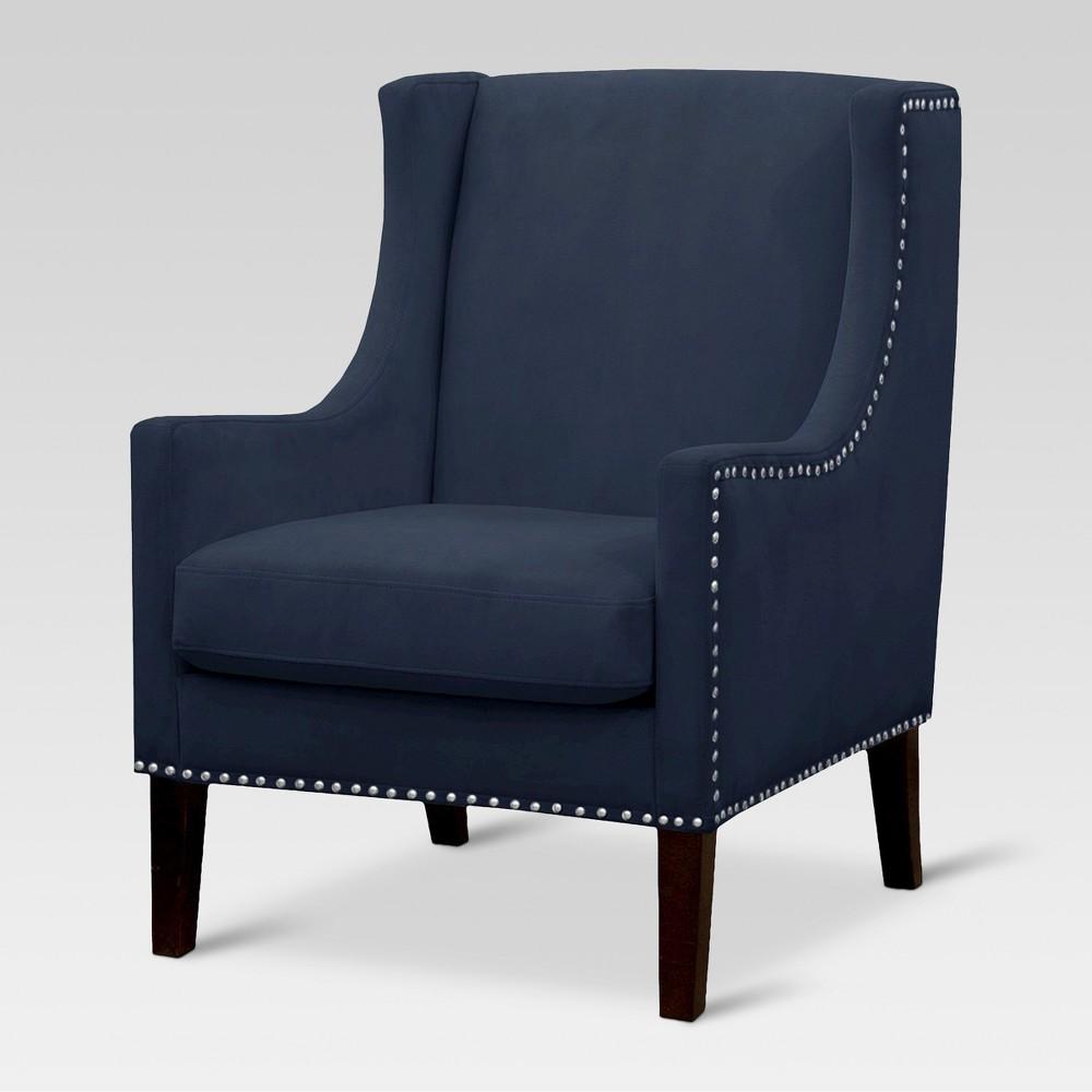 Jackson Wingback Chair Velvet Navy Threshold