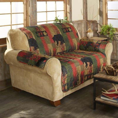Lakeside Dakota Lodge Diamond Quilted Love Seat Cover with Woodland and Animal Accents