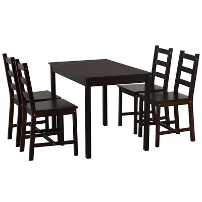 HomCom 5 Piece Dining Room Table Set, Wooden Kitchen Table and Chairs for Dinette, Breakfast Nook