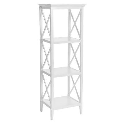 X-Frame Collection 4-Shelf Storage Tower White - RiverRidge