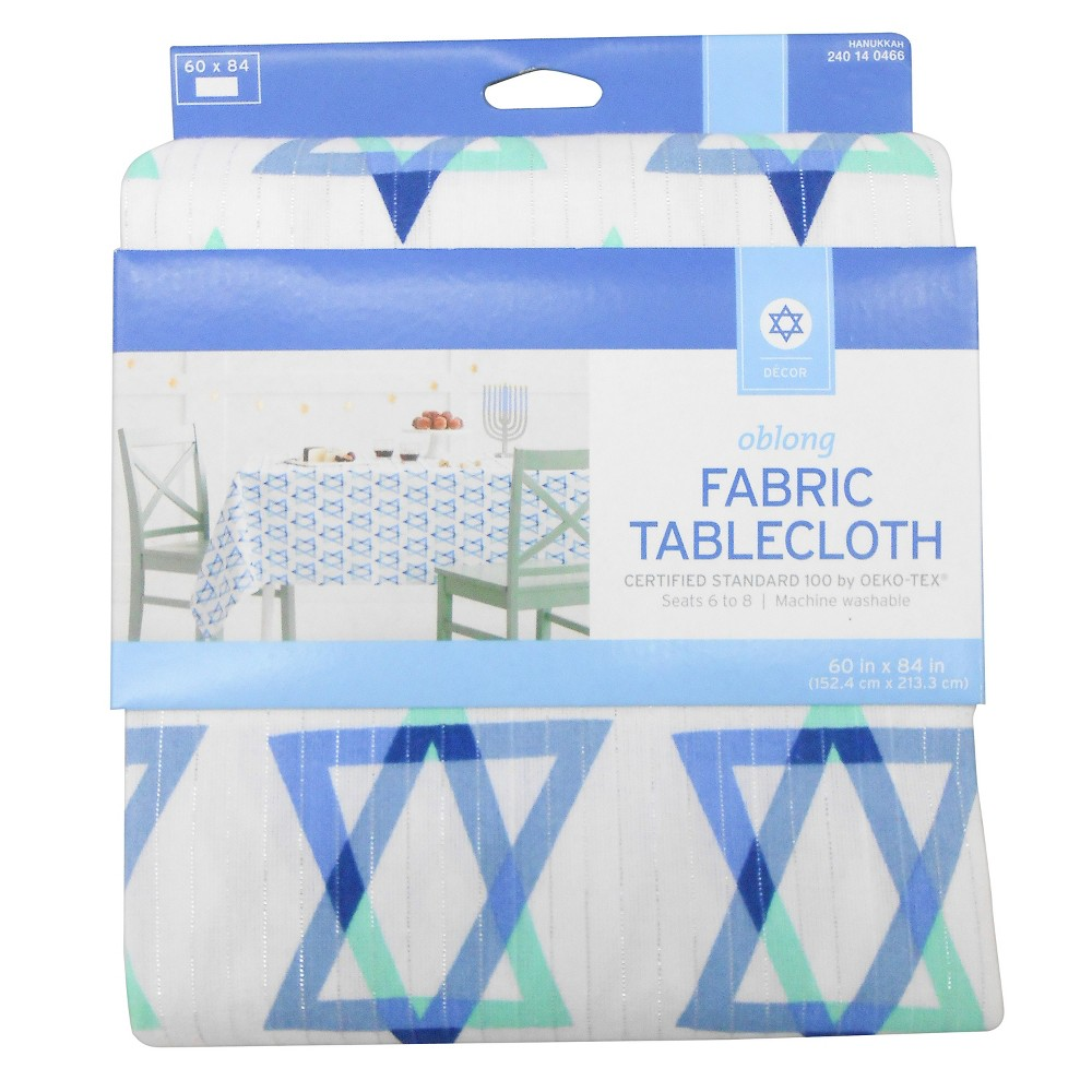 Hanukkah Star of David Canvas Tablecloth White