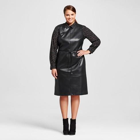 Women\'s Plus Size Faux Leather Dress - Who What Wear™ Black 3X : Target