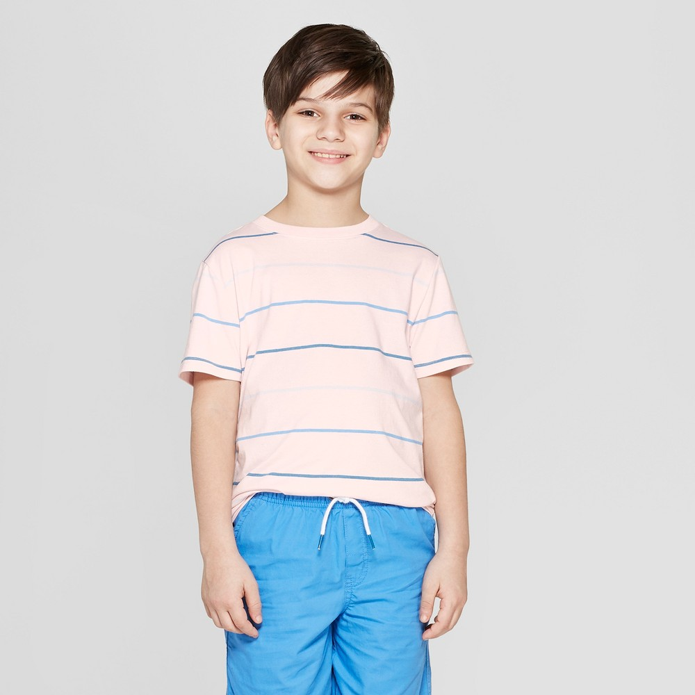 Boys' Striped Short Sleeve T-Shirt - Cat & Jack Pink S