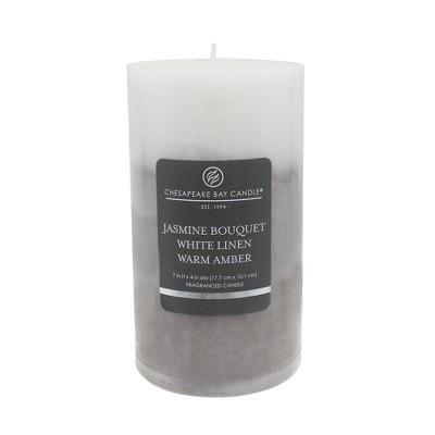 Pillar Candle Jasmine Bouquet/White Linen/Warm Amber 7  - Chesapeake Bay Candle