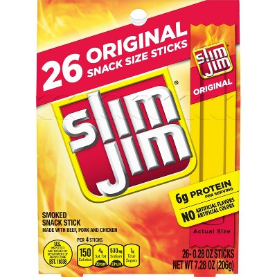 Slim Jim Original Smoked Snack Size Sticks - 7.28oz/26ct