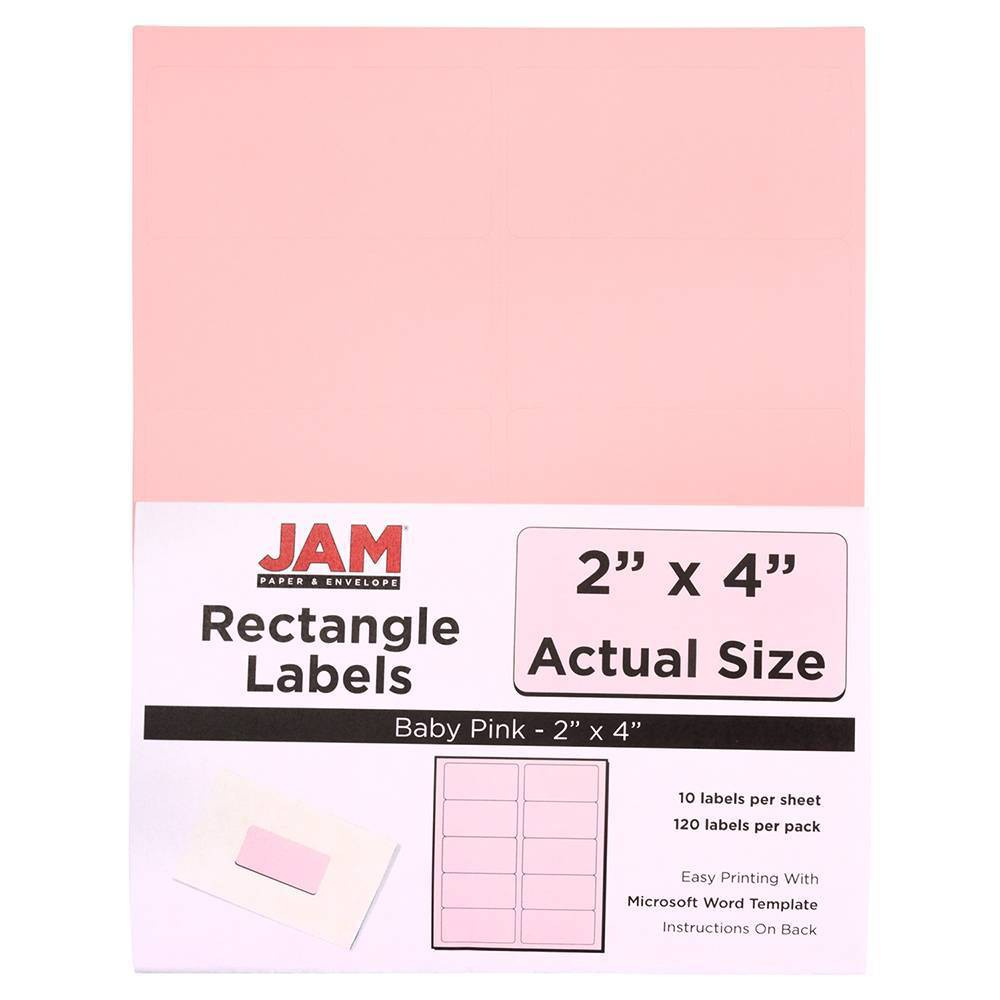 """Image of """"JAM Paper Mailing Labels 2"""""""" X 4"""""""" 120ct - Light Pink"""""""