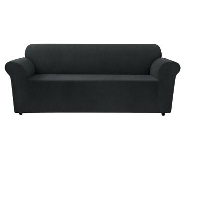 Black Stretch Chenille Sofa Slipcover - Sure Fit