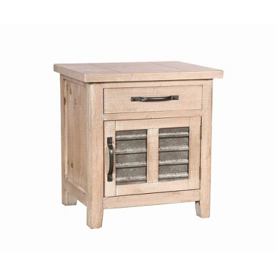 Farmhouse Storage Accent Cabinet with Drawer and Metal Insert Door Small Brown - The Urban Port