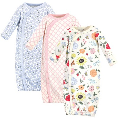 Touched by Nature Baby Girl Organic Cotton Kimono Long-Sleeve Gowns 3pk, Flutter Garden, Preemie