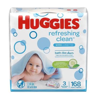 Huggies One & Done 3pk Baby Wipes Cucumber/Green Tea - 168ct