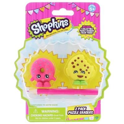 License 2 Play Inc Shopkins 2-Pack Mini Figure Puzzle Erasers
