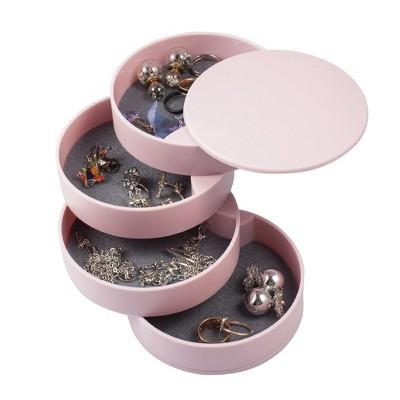 Zodaca 4 Layer Rotating Jewelry Organizer Storage Box, Ring Bracelet Earring Holder Trinket Tray Case for Women, Pink