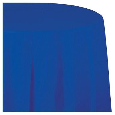 Cobalt Blue Round Plastic Tablecloth