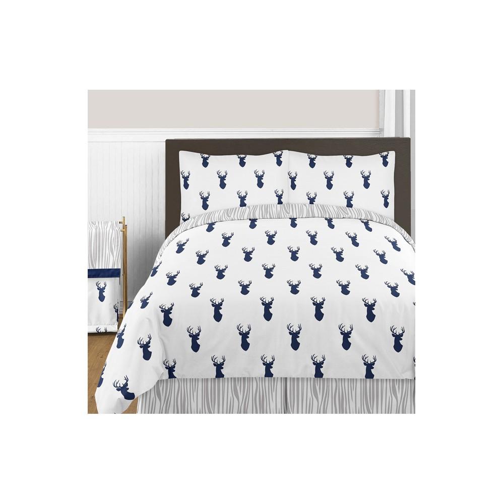 Navy & White Woodland Deer Comforter Set (Full/Queen) - Sweet Jojo Designs