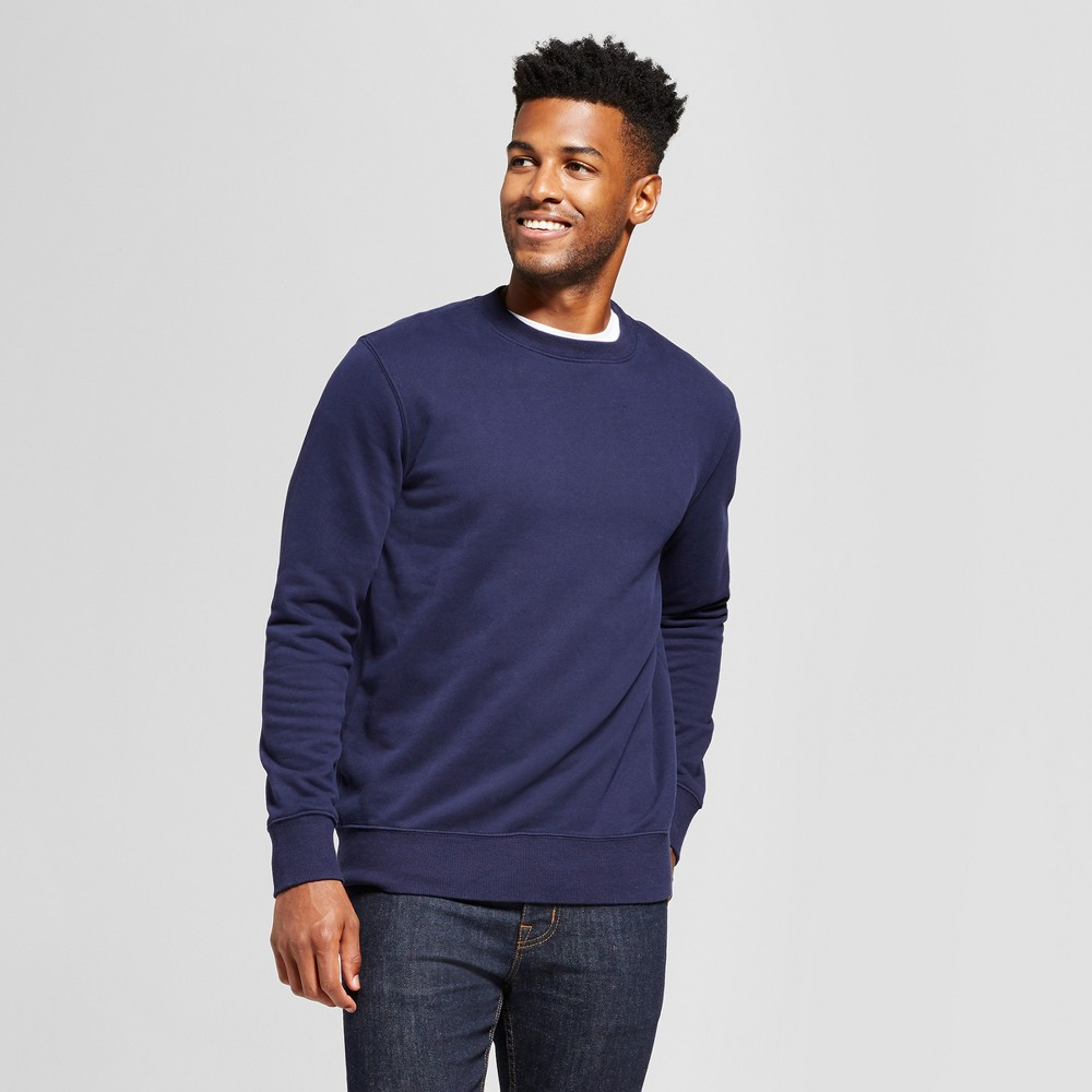 Men's Standard Fit Fleece Crew Neck Sweatshirt - Goodfellow & Co Navy (Blue) XL