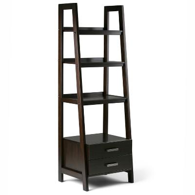 """72""""x24"""" Hawkins Solid Wood Ladder Shelf with Storage - Wyndenhall"""