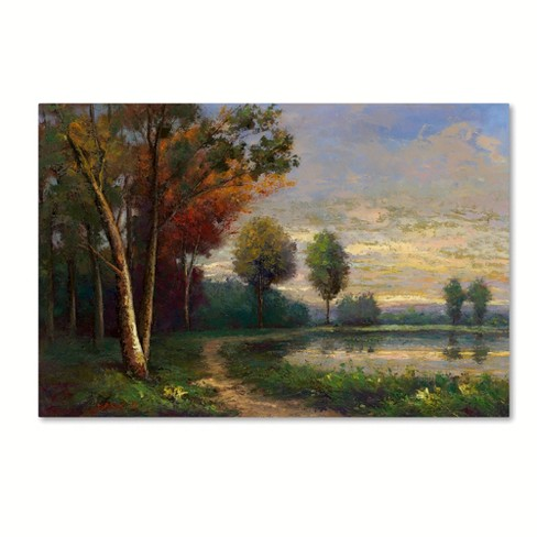 "Trademark Fine Art 32"" x 22"" Daniel Moises 'Landscape with A Lake' Canvas Art - image 1 of 3"