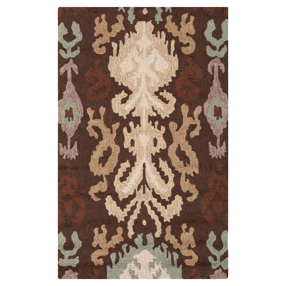 Brown Solid Hooked Accent Rug - (2'6X4') - Surya, Dark Brown