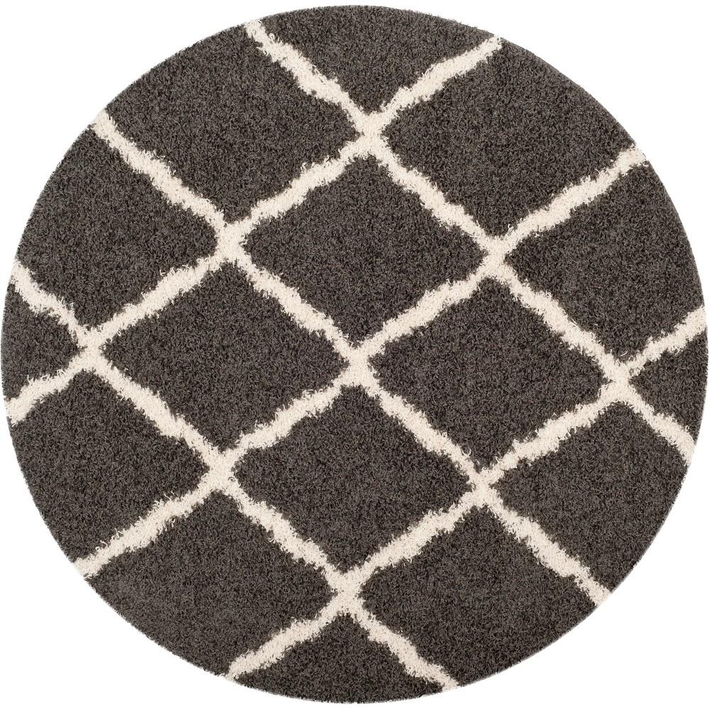 6 Quatrefoil Design Loomed Round Area Rug Dark Gray Ivory Safavieh