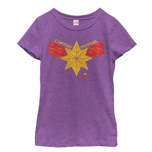 Girl's Marvel Captain Marvel Vintage Star Streak Costume T-Shirt - image 1 of 1