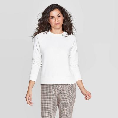 Women's Crewneck Raglan Pullover - A New Day™ Cream S