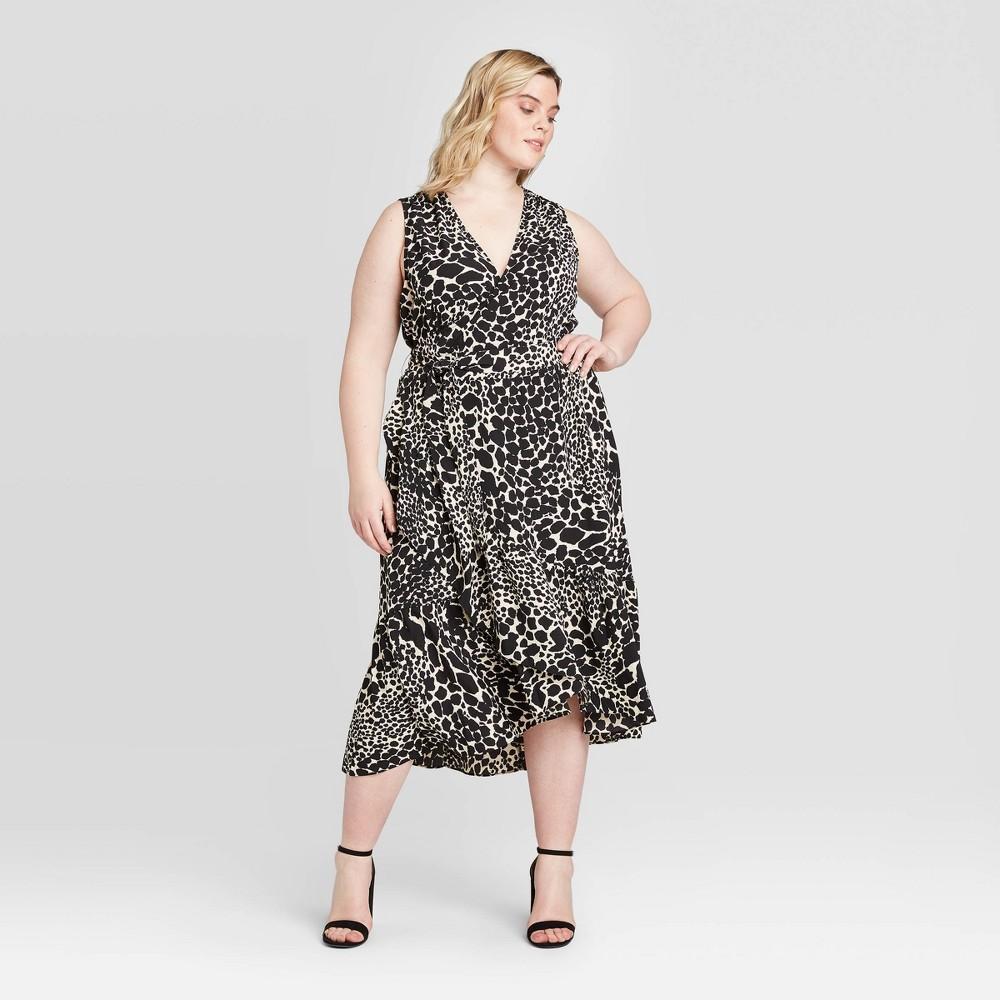 Women's Plus Size Leopard Print Sleeveless Midi Dress - Who What Wear Black 3X was $36.99 now $25.89 (30.0% off)