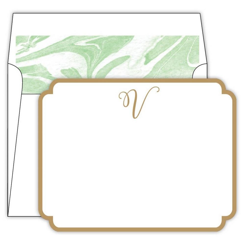 Marble Cards Die-Cut Social Set Monogram V, Green V