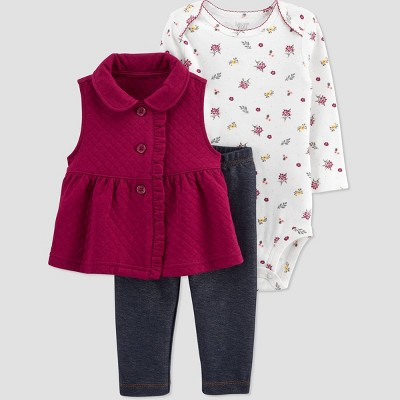 Baby Girls' Floral Vest Top & Bottom Set - Just One You® made by carter's Rich Maroon/White/Blue 3M