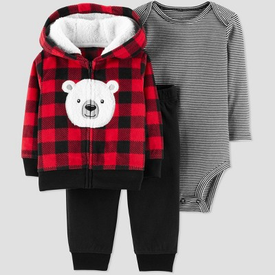 Baby Boys' 3pc Buffalo Bear Cardigan Set - Just One You® made by carter's Red 3M