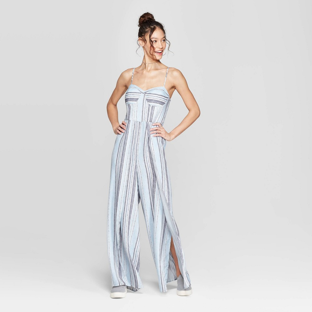 Women's Striped Strappy Bra Cup Jumpsuit target blue white