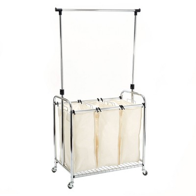 Seville Classics 3-Bag Laundry Sorter With Hanging Bar Canvas