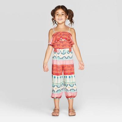 Toddler Girls' Aladdin Jumpsuit - Pink/Orange 3T