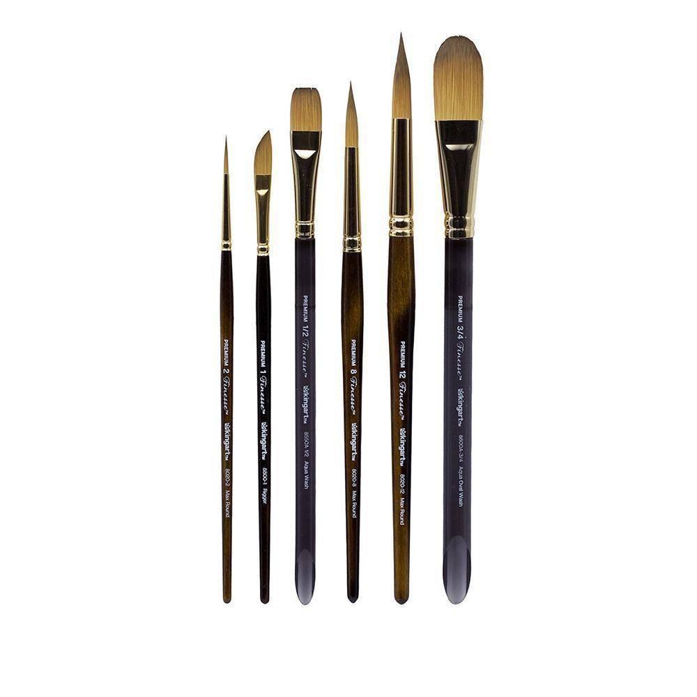 Image of Kingart 6ct Finesse Brush Set - Short handle