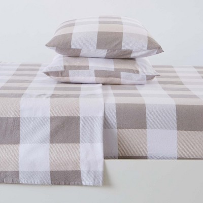 Great Bay Home 100% Cotton Flannel Buffalo Check Sheet Set