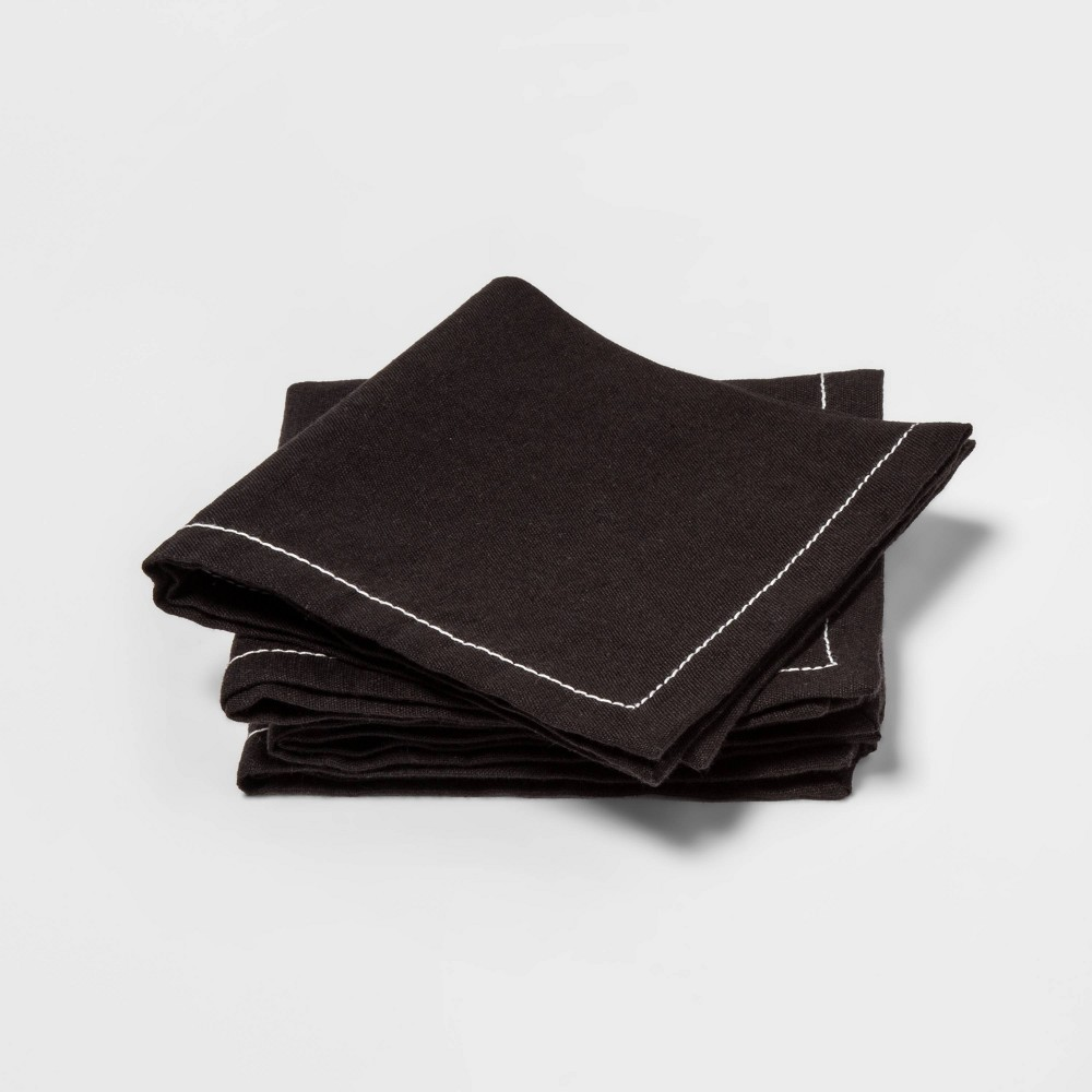 Image of 4pk Beverage Napkins Black - Threshold