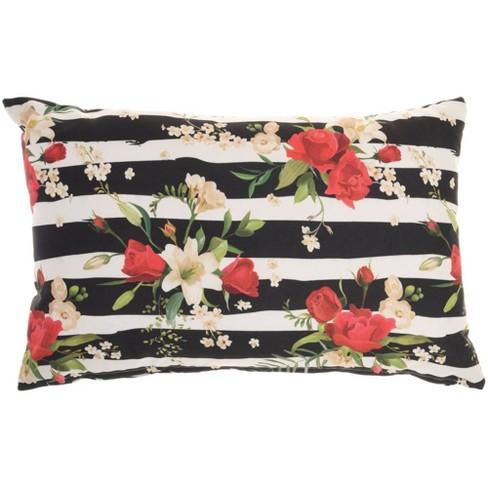 "14""x22"" Oversize Reversible Indoor/outdoor Rose And Zebra Print Lumbar  Throw Pillow Black/white - Mina Victory : Target"