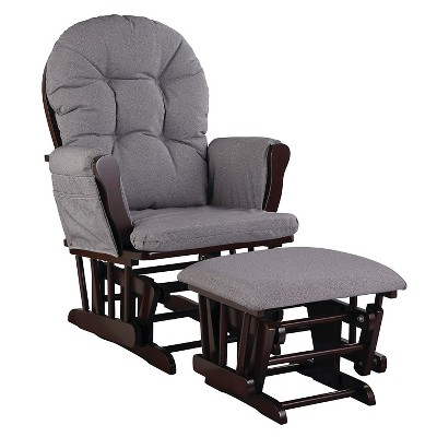 Stork Craft Hoop Espresso Glider and Ottoman - Slate Gray Swirl