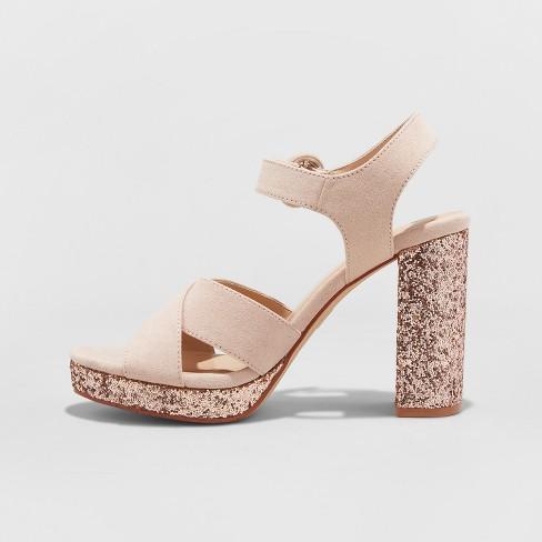 3d0fe2d009e3 Women s Fiona Glitter Satin Crossband Platform Quarter Strap Sandal - A New  Day™ Rose Gold 6   Target